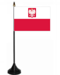 Poland State Desk / Table Flag with plastic stand and base.